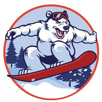 Orso polare con snowboard