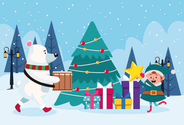 Orso polare e aiutante delle santa intorno ad un albero di natale con i contenitori di regalo durante l'inverno scenary, variopinto, illustrazione