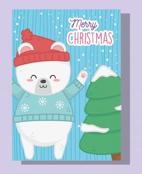 Orso polare e albero svegli con buon natale della neve
