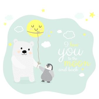 Orso polare e pinguino con personaggio dei cartoni animati di luna