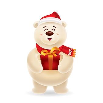 Orso polare felice con lo spiritello malevolo e la sciarpa rossa che portano un contenitore di regalo per natale con isolato