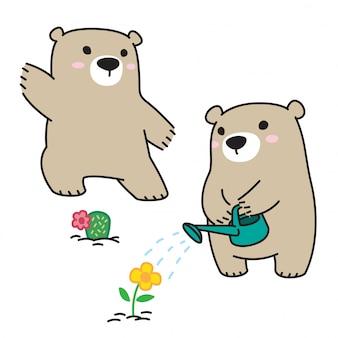 Orso polare fiore di cactus dei cartoni animati