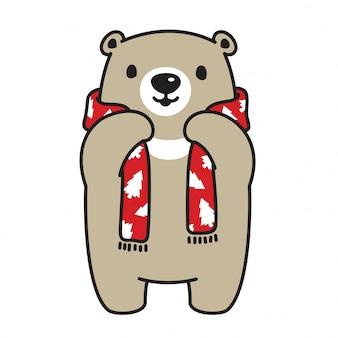 Orso polare fumetto albero di natale orso sciarpa vettoriale
