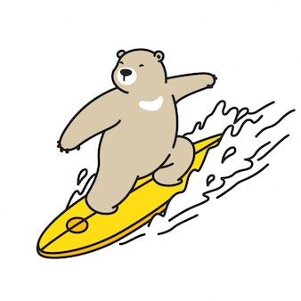 Orso polare fumetto vettoriale onda surf