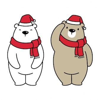 Orso polare illustrazione di cartone animato di natale