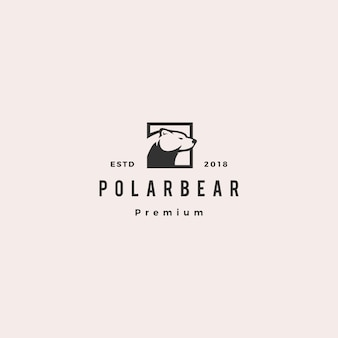 Orso polare logo hipster retrò vintage