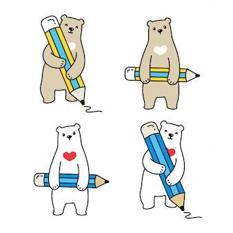 Orso polare matita fumetto illustrazione