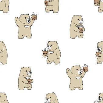 Orso polare modello boba latte tè cartoon senza soluzione di continuità