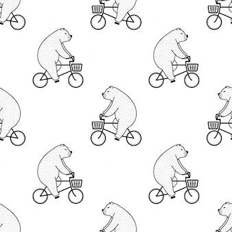 Orso polare modello senza giunture equitazione bicicletta cartoon