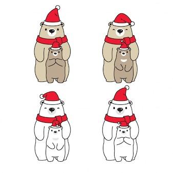 Orso polare natale santa claus cappello personaggio dei cartoni animati