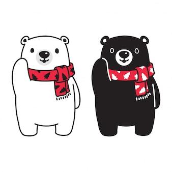 Orso polare natale sciarpa fumetto illustrazione