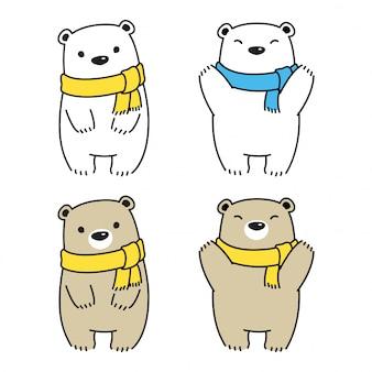 Orso polare sciarpa fumetto illustrazione