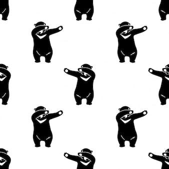 Orso polare seamless pattern dab dance cartoon