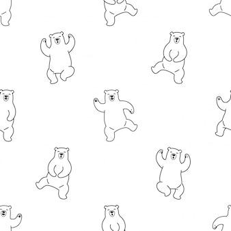 Orso polare seamless pattern dancing