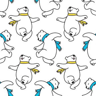 Orso polare seamless pattern danza cartoon