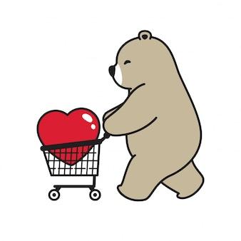 Orso polare vettoriale cuore san valentino carrello