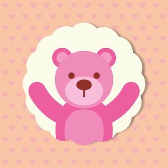 Orso rosa carino giocattolo punteggiato sfondo illustrazione vettoriale