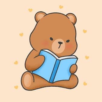Orso sveglio che legge uno stile disegnato a mano del fumetto del libro