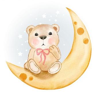 Orso sveglio che si siede su un'illustrazione dell'acquerello della luna