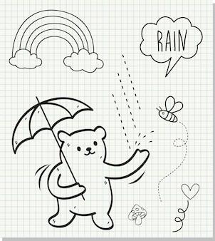 Orso sveglio sotto la pioggia su fondo di carta