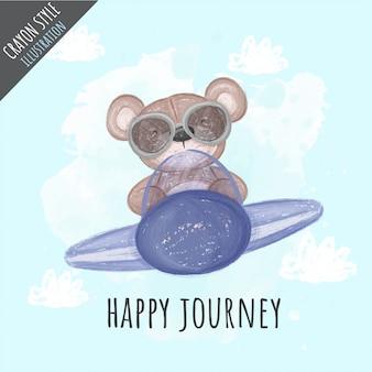 Orso sveglio sull'illustrazione del pastello dell'aeroplano per i bambini