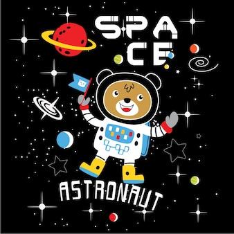 Orso vettore di cartone animato astronauta