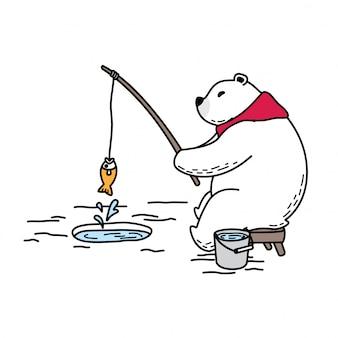 Orso vettore polare pesca sciarpa cartone animato