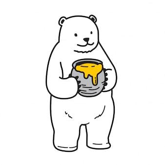 Orso vettoriale cartone animato di miele polare