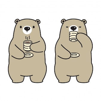 Orso vettoriale orso polare personaggio dei cartoni animati bere il tè del caffè