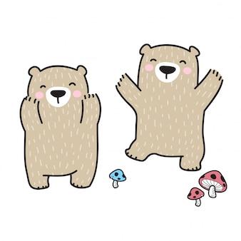 Orso vettoriale personaggio dei cartoni animati polare fungo