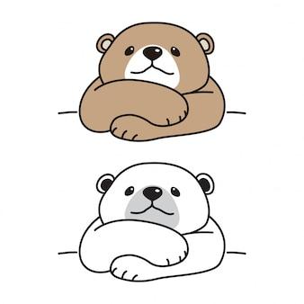Orso vettoriale polare cartone animato
