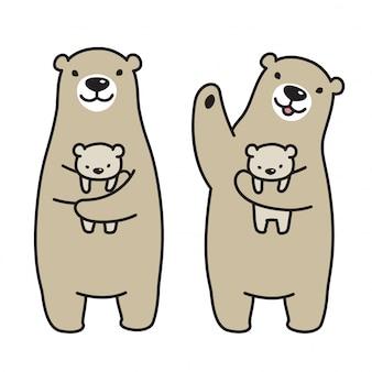 Orso vettoriale polare cartoon teddy