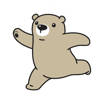 Orso vettoriale polare in esecuzione cartone animato