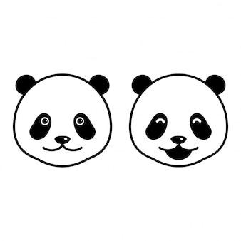 Orso vettoriale testa panda cartone animato