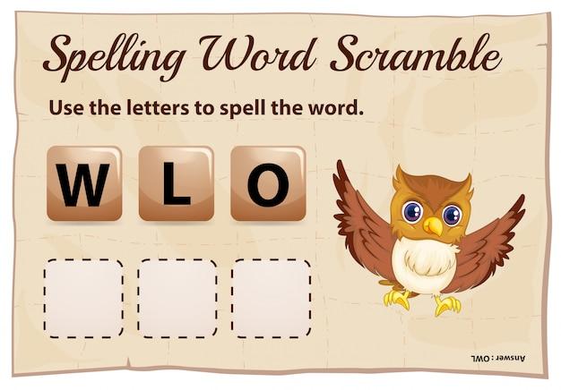 Ortografia parola scramble gioco con la parola gufo