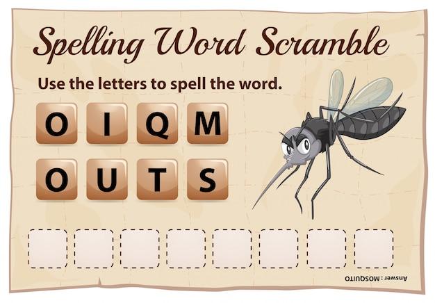 Ortografia parola scramble gioco con la zanzara parola