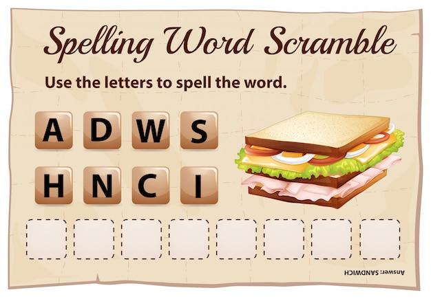 Ortografia parola scramble gioco modello con sandwich di parole