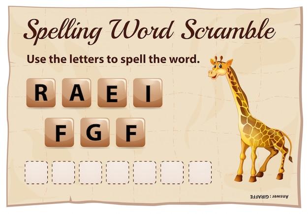 Ortografia parola scramble modello con parola giraffa