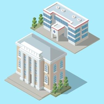 Ospedale isometrico 3d, costruzione dell'ambulanza con gli alberi verdi. esterno della clinica dei cartoni animati