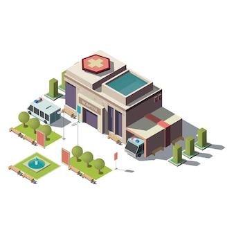 Ospedale isometrico 3d vettoriale, ambulanza con parcheggio