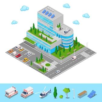 Ospedale isometrico. centro medico edificio moderno. illustrazione vettoriale