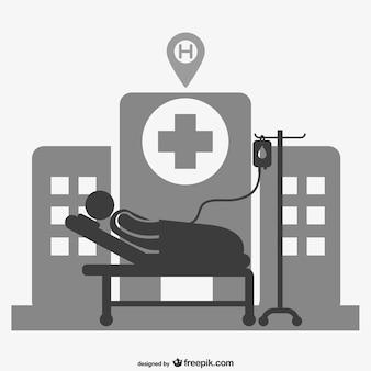 Ospedale paziente vettore segno