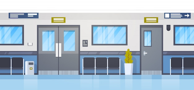 Ospedale vuoto clininc hall con posti a sedere e il corridoio della porta