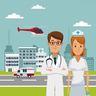 Ospedali con ambulanza e medici specialisti in volo con elicotteri