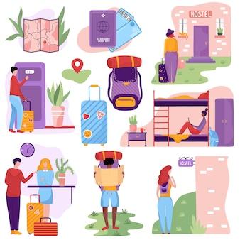 Ostello per viaggiatori in economia giovani turisti, illustrazione