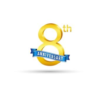 Ottavo logo dorato di anniversario con il nastro blu isolato su fondo bianco. logo 3d oro 8 ° anniversario