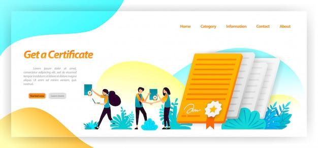 Ottenere un certificato per il seminario, la società, l'università o la realizzazione di studenti o lavoratori di successo nel raggiungimento di un obiettivo. modello web della pagina di destinazione