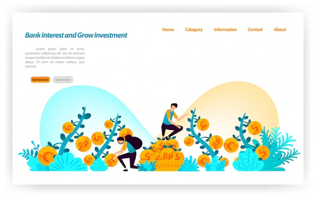 Ottieni il miglior tasso di interesse bancario e aumenta gli investimenti finanziari da varie valute dollaro, euro, rupia. modello web della pagina di destinazione