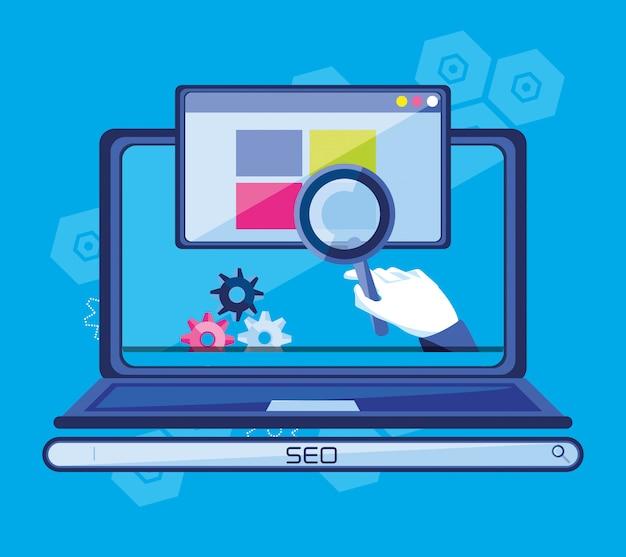 Ottimizzazione dei motori di ricerca con laptop