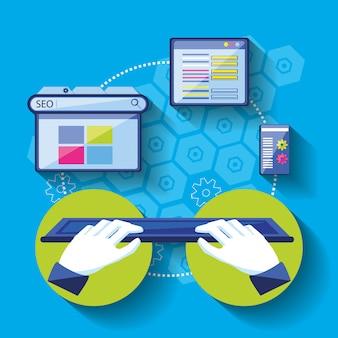 Ottimizzazione dei motori di ricerca con le mani tramite tastiera
